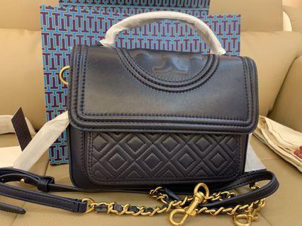 Authentic Tory Burch women top handle Fleming bag in navy
