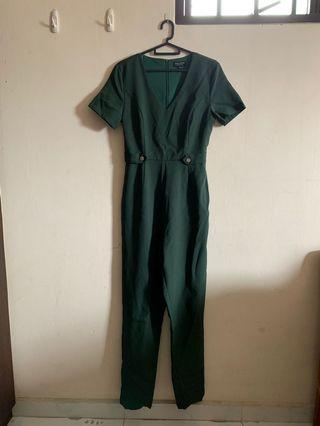 Zalora Green V Neck Jumpsuit