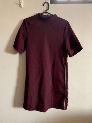 Zalora Maroon Turtleneck Stripe and Button design Dress