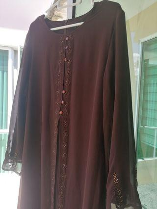 Jubah in dark brown, chiffon, lined