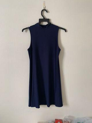 Navy Blue Turtle Neck Skater Dress