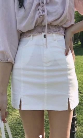 🚚 ulzzang white a line skirt