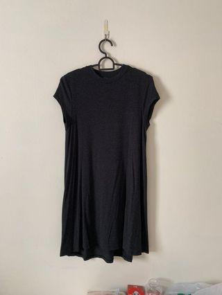 Dark Grey Grainy Skater Dress