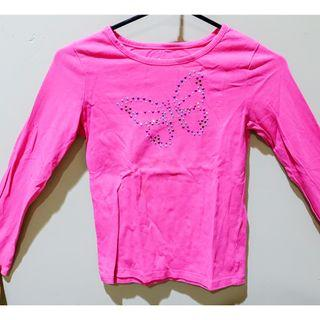#BAPAU shocking pink longsleeve t-shirt for kids with butterfly beads for kids / kaos lengan panjang pink tua untuk anak
