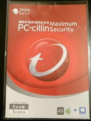 全新 Trend Micro PC-cillin Maximum Security 1 用戶 1 年