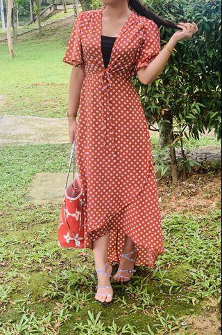 Polka Dot Wrap Front Low Dress