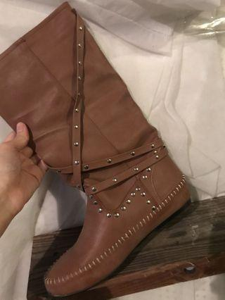 Brown faux leather boots