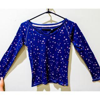 #BAPAU gap longsleeve t-shirt in navy color with star pattern / kaos lengan panjan biru tua / biru dongker motif bintang