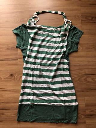 Double stripes green top