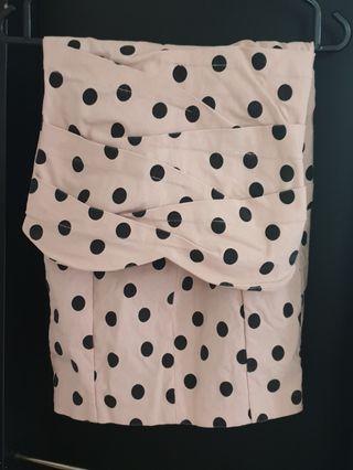 🚚 Beige and Black Pokka dot dress