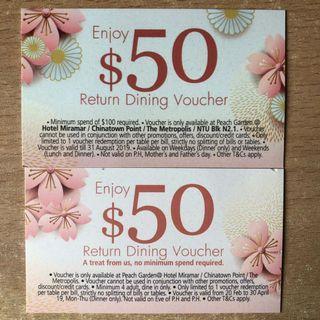 [SALE 80% OFF] $50 Peach Garden Dining Voucher