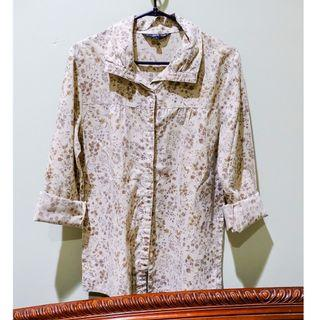 #BAPAU vintage olive brown shirt with floral pattern / kemeja