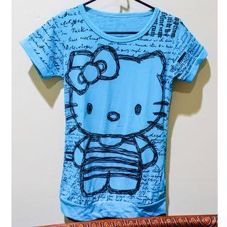 #BAPAU kaos hijau toska gambar hello kitty / dark tosca green t-shirt