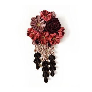 Tsumami Kanzashi rose, cherry blossoms and wild flowers in maroon, rose gold and brown colours, traditional Japanese hair accessory