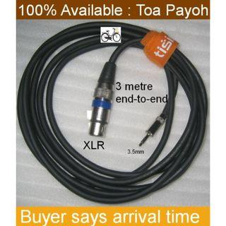 Microphone XLR Cable . 3m metres . type XLR connector to 3.5mm jack
