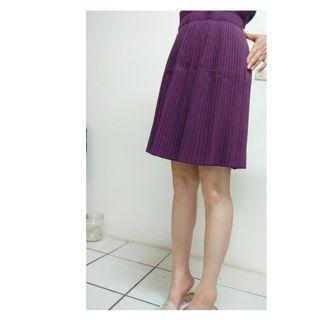 紫色中高腰細百褶半身裙