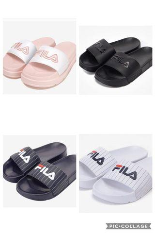 [PO] FILA DRIFTER SLIDES PINK BLACK STRIPE JACKED UP