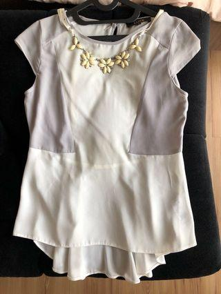 Peplum Top necklace accessories included