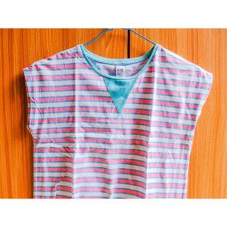 #BAPAU zara kids t-shirt in white pink and green stripes / kaos garis-garis pink hijau dan putih untuk anak