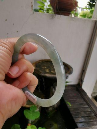 New Jadeite Jade Lake Green Icy Translucent Bangle 起光 60mm