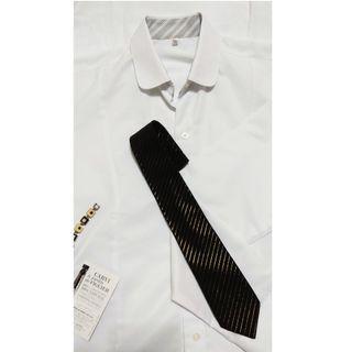 時尚窄版細條紋黑色領帶