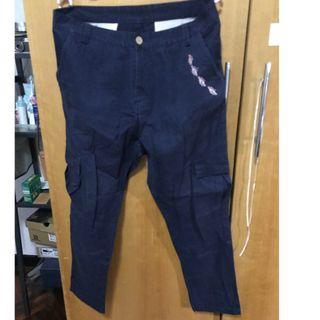 🚚 深藍 休閒褲 工作褲 長褲