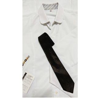 女生細條紋白色時尚合身顯瘦襯衫S號