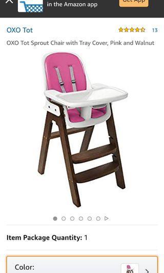 Baby High Chair - walnut & pink