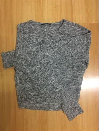 Grey soft long sleeve cropped top