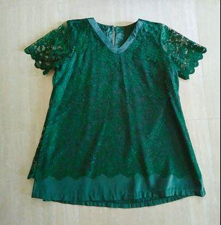Baju brokat hijau