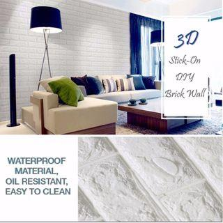 WHITE 3D FOAM BRICK WALL STICKER 77x70 CM