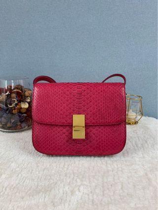 Celine Python Fuchsia Pink Snake skin Box Flag Shoulder Bag