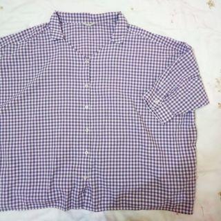 🚚 日系   藍莓格子 紫色 超寬鬆襯衫