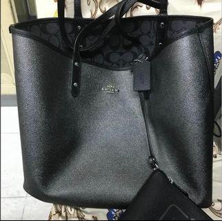 Coach Reversible double side tote bag black coach and silver