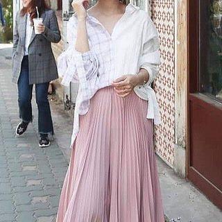 韓製紫格拼接白色後綁帶襯衫