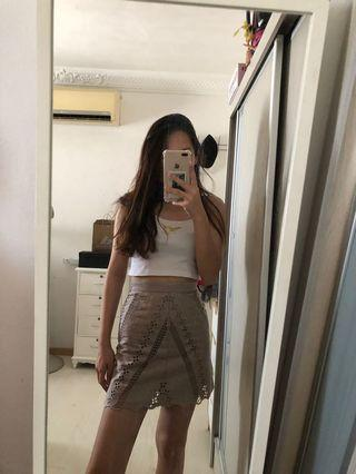 h&m brown highwaist skirt
