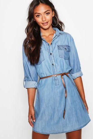 Boohoo Petite Belted Denim Shirt Dress #swapau