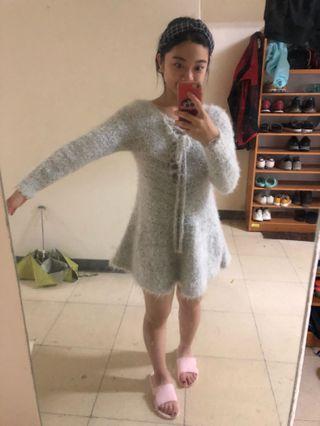 長袖絨毛洋裝👗