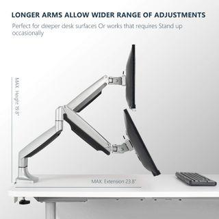 "2 x EleTab Dual Monitor Mount Stand Full Motion Swivel Fits for 2 Computer Screens 13"" to 32"" Gas Spring LCD Arm"