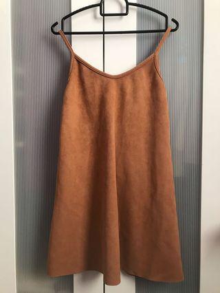 BROWN VELOUR PINAFORE DRESS