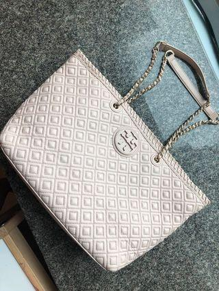 Tory Burch Marion quilted chain strap tote bag soft pink