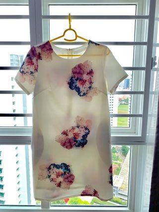 Love and Bravery white floral shift dress