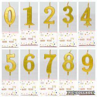 🚚 Gold Number Candle