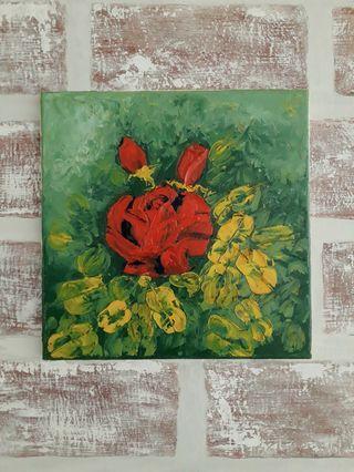 Red Rose Impasto Oil Painting