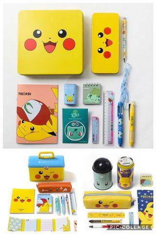 [PO] POKEMON STATIONERY SET PIKACHU EEVE SNORLAX PEN NOTEBOOK PENCIL ERASER  CASE MEMO POST IT RULER