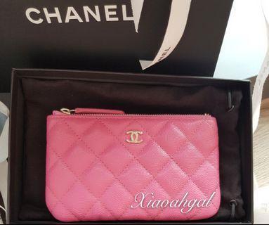 🌟BIDDING🌟 19C Chanel bubblegum pink cavair gold hardware ocase wallet clutch pouch