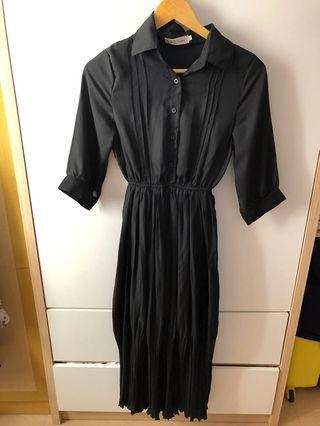 黑色連衣裙收腰有彈性中長款紗質