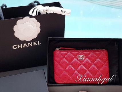**RESERVE** 🌟BIDDING🌟18B Chanel raspberry pink red cavair o case wallet clutch pouch gold hardware