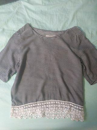 A&F striped shirt with lace