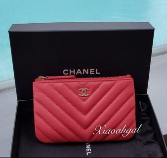 **RESERVE**🌟BIDDING🌟 Authentic Chanel pink chervon ocase wallet clutch pouch